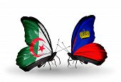 Two Butterflies With Flags On Wings As Symbol Of Relations Algeria And Liechtenstein