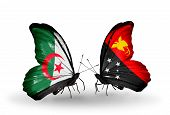 pic of papua new guinea  - Two butterflies with flags on wings as symbol of relations Algeria and Papua New Guinea - JPG