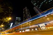 City night street with cars light in Hong Kong, China, Asia.