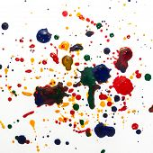 Colorful ink drops on white