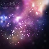 foto of cosmos  - Vector cosmos illustration with stars and galaxy on dark background - JPG