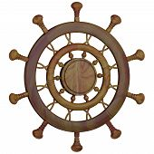 picture of ship steering wheel  - Steering wheel of the sea ship isolated 3d - JPG