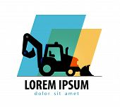 construction tractor vector logo design template. bulldozer or truck icon.