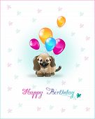 image of dog birthday  - Cute brown dog with ballons on happy birthday card - JPG