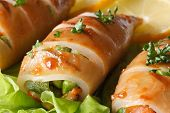 picture of squid  - Grilled squid stuffed with vegetables on salad leaves macro - JPG