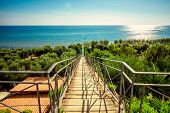 Stairs way to the Mediterranean sea