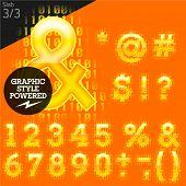 Techno style alphabet sensitive to the background. Stab. Set 3