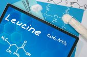 Tablet with the chemical formula of Leucine