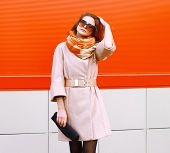 Beauty, Fashion, Shopping And People Concept - Pretty Stylish Sensual Woman In Coat And Sunglasses W