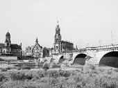 picture of trinity  - Dresden Cathedral of the Holy Trinity aka Hofkirche Kathedrale Sanctissimae Trinitatis in Dresden Germany in black and white - JPG