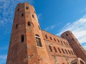 foto of turin  - Palatine towers Porte Palatine ruins of ancient roman town gates in Turin - JPG