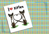 image of cat-tail  - postcard with two cats with tails in the shape of a heart - JPG