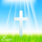 stock photo of crucifiction  - Easter Cross on a Spring Blue Sky Background - JPG