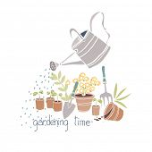 gardening time card with watering can and flowerpots