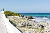picture of gulf mexico  - View of the promenade on the eastern shore of the ocean in Isla Mujeres - JPG