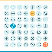 Set Of Thin Line Arrow Icons