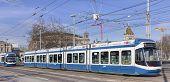 Trams On The Bahnhofbrucke Bridge In Zurich