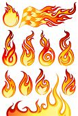 stock photo of combustion  - Fire flames icons collection in vector illustration  - JPG