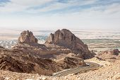 image of jabal  - Jebel Hafeet mountains in the outskirts of Al Ain Emirate of Abu Dhabi UAE - JPG