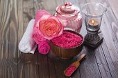 pic of salt-bowl  - Spa setting with sea salt towels and flower on painted wooden boards - JPG