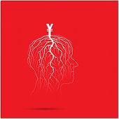 Tree Of Business Shoot Grow On Human Head Symbol.
