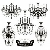 foto of chandelier  - Set of different chandelier silhouettes vector illustration - JPG