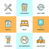 stock photo of motel  - Line icons set with flat design elements of motel accommodation services small hotel general amenities parking and no smoking sign open for 24 hours - JPG