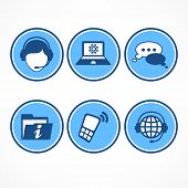 Customer Support Icons In Blue