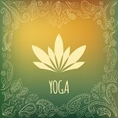 picture of yoga silhouette  - Yoga logo with heart frame and lotus flower silhouette - JPG