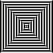 foto of monochromatic  - Illustration of sqaures in black an white with diagonal lines making an optical illusion of pyramis or tunnel  - JPG