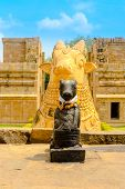 Fragment Of Architecture Hindu Temple Dedicated To Shiva, Ancient Cows, Gangaikonda Cholapuram Templ