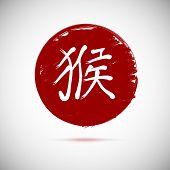 Zodiac symbols calligraphy, monkey on red background.