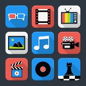 Multimedia, Video And Audio Themed Squared App Icon Set