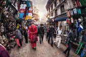 Monk At Kathmandu Street