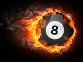 picture of fireball  - Pool Billiards Ball in Fire - JPG