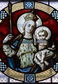 MARIJA BISTRICA, CROATIA - JULY 14: Virgin Mary with baby Jesus, stained glass window in Basilica Assumption of the Virgin Mary in Marija Bistrica, Croatia, on July 14, 2014