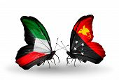 image of papua new guinea  - Two butterflies with flags on wings as symbol of relations Kuwait and Papua New Guinea - JPG