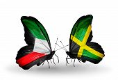 Two Butterflies With Flags On Wings As Symbol Of Relations Kuwait And Jamaica