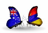 Two Butterflies With Flags On Wings As Symbol Of Relations Australia And Armenia