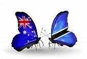Two Butterflies With Flags On Wings As Symbol Of Relations Australia And Botswana