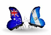 Two Butterflies With Flags On Wings As Symbol Of Relations Australia And Guatemala