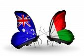 Two Butterflies With Flags On Wings As Symbol Of Relations Australia And Madagascar