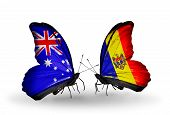 Two Butterflies With Flags On Wings As Symbol Of Relations Australia And Moldova