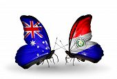 Two Butterflies With Flags On Wings As Symbol Of Relations Australia And Paraguay