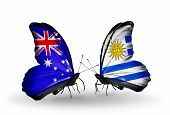 Two Butterflies With Flags On Wings As Symbol Of Relations Australia And Uruguay
