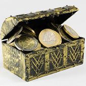 Treasure Chest Filled With Coin, Euro Currency
