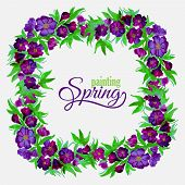 Decorative flowers of watercolor spring wreath