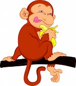 cute monkey cartoon holding banana