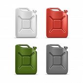 Vector Set of Blank Jerrycan Canister Gallon
