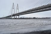 Cable Stayed Bridge At Cloudy Winter Day.